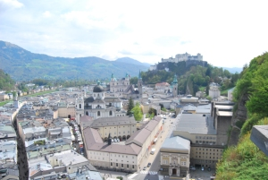 Looking down on Salzburg from Gasthaus Stadtalm.
