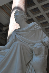 King Ludwig I watches over the hall of heroes in Walhalla
