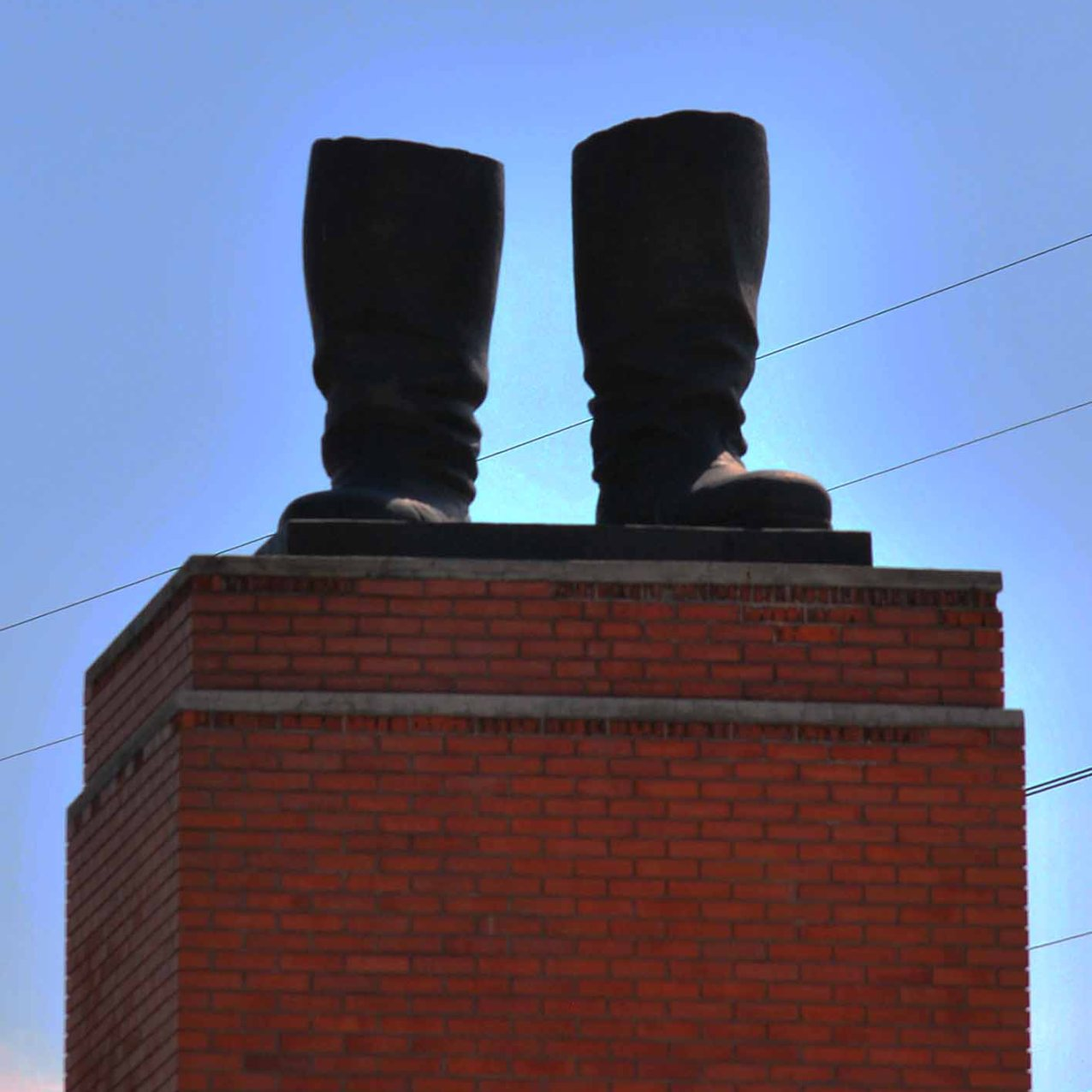 A replica of Stalin's boots. All that remained of the giant statue of Stalin after the revolution in 1956.