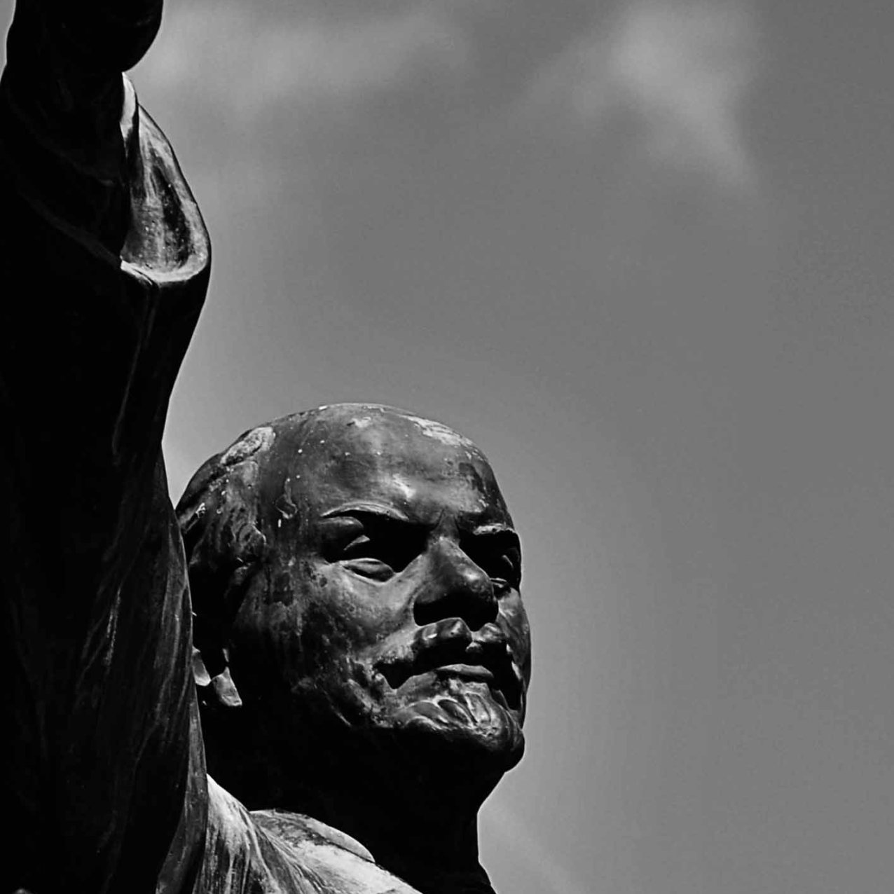 Lenin gestures to an empty park. A reminder of the past.