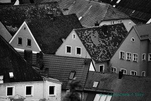 A bird's eye view of a Bavarian town.