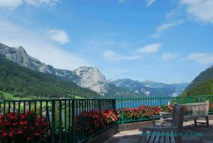 Dining above the Grundlsee in the beautiful  Salzkammergut region of Austria