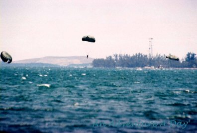 Parachutes into the water in Key West