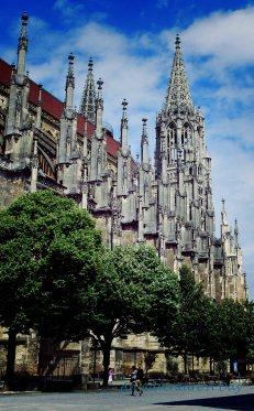 Walking beside the beautiful church.