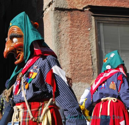 All of the Fasching costumes are colorful.