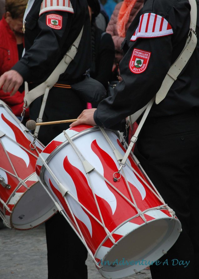 The drum beat of the fire department set the pace of the parade.