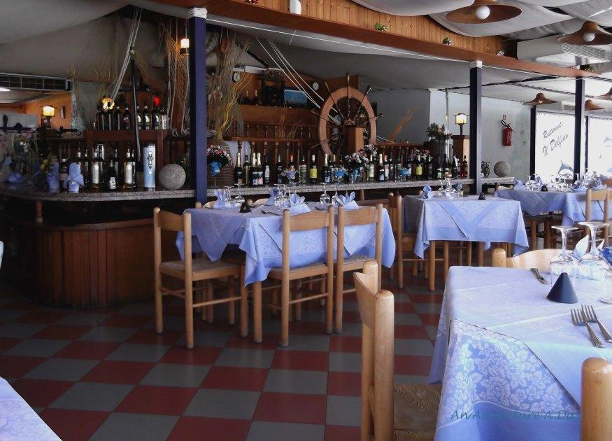 The empty dining room of Hotel il Delfino