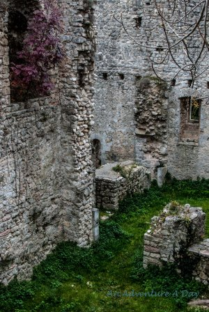 Inside the ruins of a castle, succumbing to the ages.
