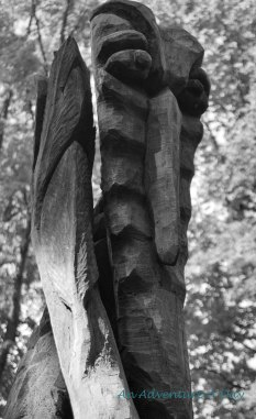 A carving along the trail of the Kunstwald in Burglengenfeld.