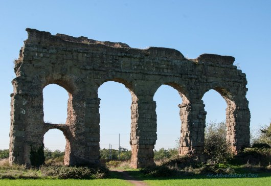 The Aqueduct park is a large open space in Rome. The trails wind through the park and beneath the remains of the ancient structures.
