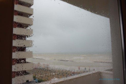 Rain outside our hotel window.