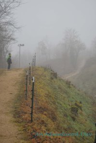 The heavy fog creates an atmosphere of mystery on the daily hike.