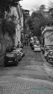 This side street seemed particularly dense with traffic. I would discover the reason on my next trip to the Gianicolo.